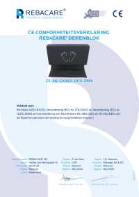 CE Declaration of Conformity - Blanket cushion from REBACARE®