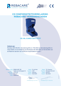 CE Declaration of Conformity - Orthopedic Bandage shoe / heel protector from REBACARE®
